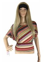 Womens Top Stretch Poncho Off The Shoulder Crop Geometric Art Fit Small Petite