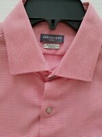 Van Heusen Mens 16.5 34/35 Pink Mini Stripe Regular Fit Stretch Dress Shirt
