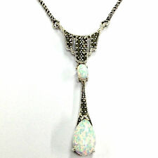 Splendido stile Art Deco Bianco Gilson Opale Marcasite Ciondolo 925 Argento Sterling