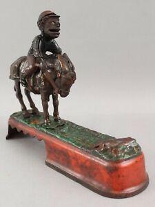 19thC AntiqueStevens, Always Did Spise a Mule Jockey Cast Iron Mechanical Bank