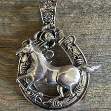 "Western Cowgirl Antique Silver Crystal Horseshoe/Horse Pendant 2 1/2"" X 3"""