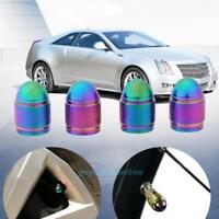 4pcs Rainbow Color Bullet Shaped Auto Wheel Tyre Tire Valve Stem Caps Dust Cover