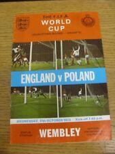 17/10/1973 England v Poland [At Wembley] (Creased, Punched Holes). Bobfrankandel