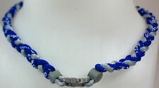 "New 20"" Custom Clasp Braided Sports Royal Blue Gray Grey Tornado Necklace Twist"