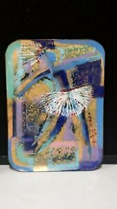 Vintage Handmade Copper Blue Gold Abstract Enamel Square Tray MCM ARTIST SIGNED