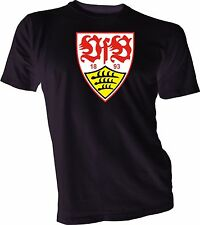 VfB STUTTGART GERMANY Bundesliga Football Soccer Black T-SHIRT handmade Sports