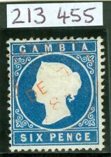 More details for sg 18b gambia 1880-81 6d blue wmk crown l.c. upright. very fine used with a...