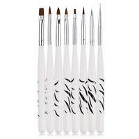 8Pcs/Set UV Gel Nail Art Brush Polish Painting Pen Brush For Salon Manicure DIY