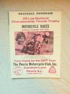 1975 Peoria TT Motorcycle Race Program AMA National Championship Illinois 25 LAP