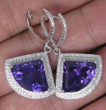 Natural Purple Fan Amethyst Diamond Drop Gem-Set Earrings Solid 14K White Gold