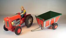 Modern Toys Japan Blech Traktor - Trecker mit Anhänger Schwungrad #1208