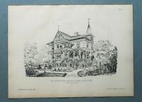 AR86) Architektur Dornbach bei Wien 1886 Villa Garten Haus Holzstich 28x39cm