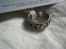 MENS / WOMENS Curb Chain Stress Relief band Ring 7mm wide 316l ss UK T silver