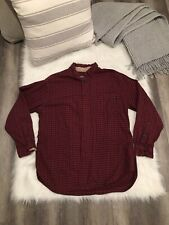 Woolrich - Men's Large Red & Black Button Down Long Sleeve Plaid Flannel Shirt