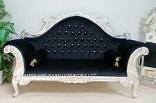 ORNATE FRENCH SILVER LOUIS CUDDLER BLACK DOUBLE ENDED MEDIUM CHAISE SMALL SOFA