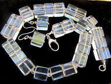 Genuine Rock Crystal Sterling Silver Cube Beads Bead Necklace & Dangle Earrings