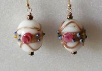 Vintage Wedding Cake Venetian Bead Gold 925 Drop Dangle Earrings match necklace