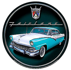Ford Fairlane turquoise/white car 300mm round metal sign (sf)