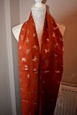 Burnt Orange scarf metallic foil gold butterfly scarves ladies present gift