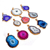Solar Quartz Mixed Gemstone Wholesale 10 Pcs Gold Plated Pendant Jewelry