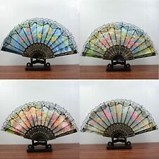 10Pcs Chinese Silk Embroidered Flower Folding Fans