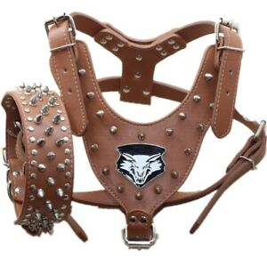 Wolf Spiked Studded Dog Harness Collar set for Medium & Large Dogs Pit Bull