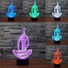 3D Illusion Lamp Gawell Sitting Meditation Visual Effect Night Light 7 Colors Gl