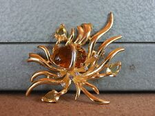 Costume Jewellery Brooch Stylised Leaf Orange & Clear Sparkles 7cm