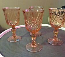 Vintage Depression Glass Pink Wine Glasses Set Of 4