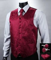 VE07 Red Paisley Men Silk Waistcoat Vest Pocket Square Cravat Suit Set