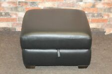 WORLD OF LEATHER STORAGE FOOTSTOOL IN BLACK LEATHER (565)