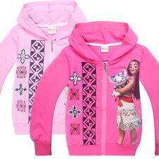 Girls Moana Pink Jumper Hooded Hoodie Zipper Jumper Jacket Size 2-8 years