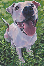 "American PIT BULL Terrier dog art PRINT of LAShepard painting LSHEP 6x9"" pitbull"