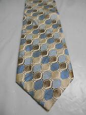 Platinum Designs Light Blue Brown and White Woven Geometric Silk Necktie
