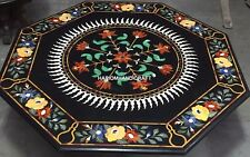 "24"" Black Marble Coffee Console Table Top Mosaic Floral Inlay Arts Decor H4437"