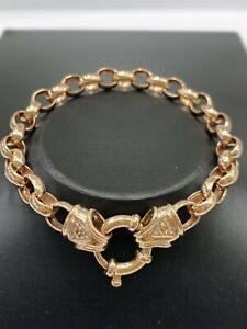 10ct 10K Rose Gold Belcher Bracelet Oval Links Boltring 17.8 Grams 21cm. New