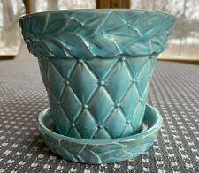 Vintage McCoy Blue Flower Pot and Saucer Quilted Leaf Motif - 1950 USA