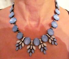 Stunning Luminous Blue/Clear Rhinestone Large Bib Statement Necklace-EUC