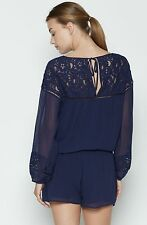 $368 JOIE Jevin Navy Blue Silk Lace Romper Jumper Shorts - S Small (2-4-6)