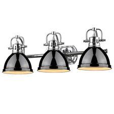 Golden Lighting Duncan 3 Light Bath Vanity, Chrome w/Black Shade 3602-BA3 CH-BK