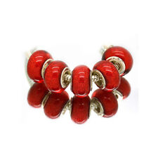 5pcs Silver Murano Red Acrylic Charms Beads Fit European Charm Bracelet ju08