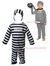 Halloween Costume Black White Stripe Prisoner Party Dress Up for Unisex Children