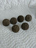 Vintage Bakelite US ARMY Military Eagle Tan Overcoat Buttons, lot of 6