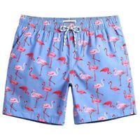 Maamgic Flamingo Blue And Pink Print Swim Trunks Men's Size Medium Board Short
