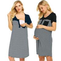 Women Pregnancy Maternity Mom Nursing Stripe Splice Short Sleeve Dress Sleepwear