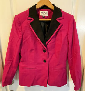 NEW Kasper Petites Pink Fuchsia Wool Turn Cuff 3/4 Sleeve Blazer 8 PETITE Retro