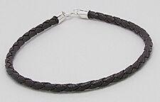 "7.5"" Beautiful Dark Brown Braided Rubber & Silicone Bracelet Humane VEGAN"