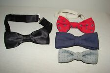 Vintage 1960s Mens Bow Ties Clip-On Lot Formal Paisley Linen
