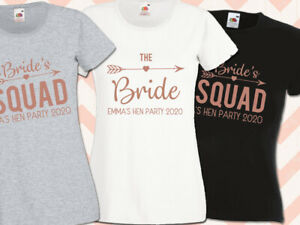 Bride Squad Hen T Shirt Rose Gold Bridal Party Personalised Hen Do Top
