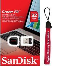 SanDisk 32GB USB SD CZ33 Cruzer Fit 32G USB 2.0 Pen Drive SDCZ33-032G + Lanyard